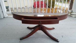 Vintage Mahogany Oval Duncan Phyfe Coffee Table With Glass Top And Pull Drawer