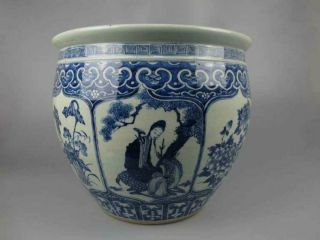 Chinese Antique Porcelain Blue And White Character Pattern Cylinder