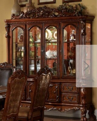 Vtg Breakfront Bubble Glass China Curio Cabinet Hutch Wood 6