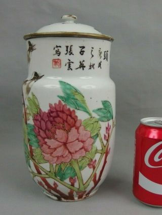 Antique Chinese Porcelain Covered Vase W Birds Flowers & Calligraphy 19th C.