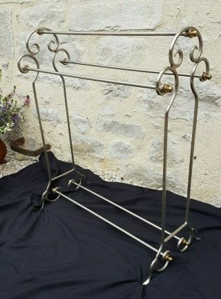 Antique French,  1900,  Silver Wrought Iron Clothes Rack,  Art Ironwork,  Art Nouveau
