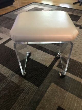 Mid - Century Modern Lucite Waterfall Wheeled Bench Stool Chair Art Deco Vintage