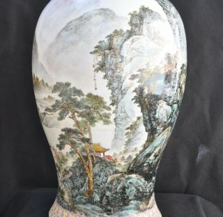 "18th Century Antique Chinese Porcelain Mountains Vase Qianlong Mark 27 1/2 "" Tall"