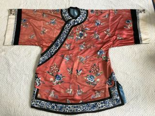 Antique Chinese Embroidered Silk Robe Florals Flowered Vase Sleevebands Qing