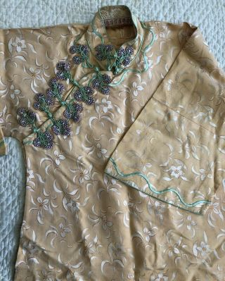 Vintage 1930s Chinese Yellow Floral Silk Damask Cheongsam Qipao Floral Closures 8
