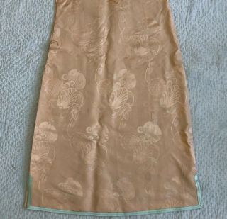 Vintage 1930s Chinese Patterned Silk Damask Cheongsam Qipao Art Deco Shanghai 5