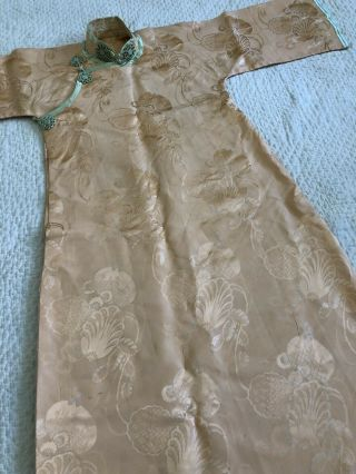 Vintage 1930s Chinese Patterned Silk Damask Cheongsam Qipao Art Deco Shanghai 6