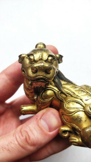 Rare Antique Chinese Gilt Bronze Dragon Beast Scroll Weight Figure Qing Dynasty