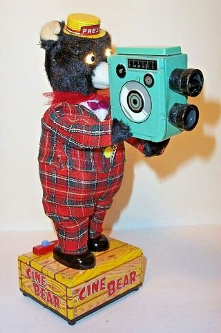 """Rare 1950 """" S Battery Operated Camera Shooting Cine Bear Toy Japan Linemar Marx"""