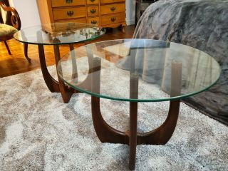Mid - Century Danish Modern Adrian Pearsall Glass Top End Tables