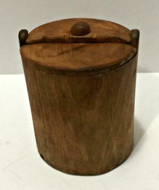 Rare Handcarved Pantry Spice Box Canister Primitive 1881 Kitchen Collectible