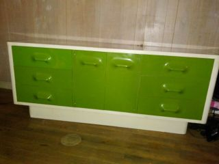 1970s Broyhill Premier Chapter One Space Age Mod Green Dresser Mid Century