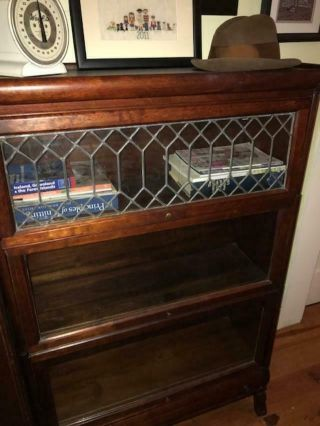 Antique Vintage 3 Stack Barrister Bookcase With Drawer And Top Leaded Glass