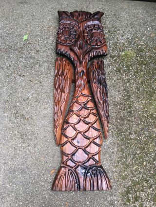 """Large Mid Century Modern Carved Witco Owl Wall Sculpture 50"""" Tall Eames Tiki Wow"""