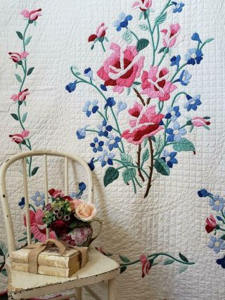 Glorious Handwork Vintage Romantic Pink Roses Applique Quilt Fine Quilting