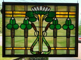 "Antique Leaded Stained Glass Window 21 1/2 "" X 29 1/2 "" Irish Arts & Craft Green"