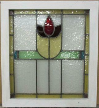"""Midsize Old English Leaded Stained Glass Window Bordered Floral 21.  25 """" X 23.  5 """""""