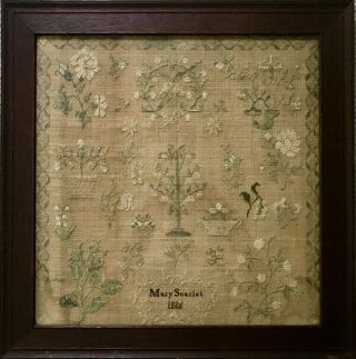Antique Pennsylvania Needlework Sampler By Mary Scarlet,  1826 - Framed W History