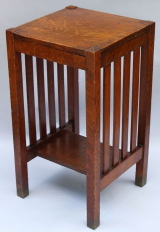 Antique HARDEN Arts & Crafts Quartered Oak Telephone Lamp Side End Table,  NR 2
