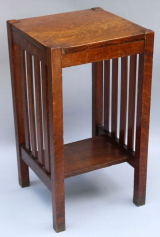 Antique HARDEN Arts & Crafts Quartered Oak Telephone Lamp Side End Table,  NR 3