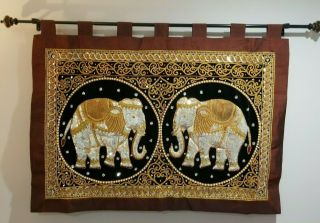 "Vintage Thailand Wall Hanging,  Elephant,  Sequins,  Velvet,  Embroidery 97 "" X 52 """