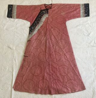 Antique 19th Century Chinese Silk Damask Gauze Summer Robe Florals Bats Qing
