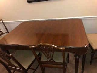 VINTAGE DESIGNER BERKEY & GAY DECO TABLE DINING RM TBL BUFFET 6 CHAIRS MAHOGANY 10