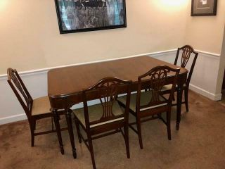 Vintage Designer Berkey & Gay Deco Table Dining Rm Tbl Buffet 6 Chairs Mahogany