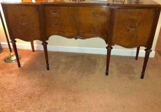 VINTAGE DESIGNER BERKEY & GAY DECO TABLE DINING RM TBL BUFFET 6 CHAIRS MAHOGANY 6