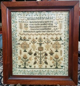 19th C.  Antique 1829 Incarnation Of Christ Sampler Isabella Keen Aged 9 Years