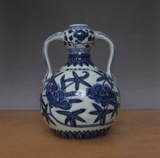 Xuande Signed Antique Chinese Blue And White Porcelain Vase W/flower
