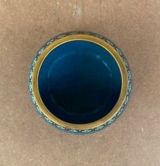 Antique Cloisonne Enamel Circular Box and Cover Qing Qianlong Mark 3