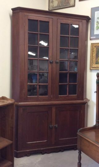 Antique Corner Cabinet Circa 1860's Large Early Cabinet Seed Glass