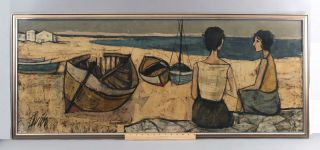 Lrg Vintage Charles Lever French Modernist Oil Painting Figures & Boats On Beach