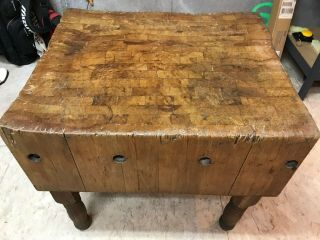 "Rare Vintage Solid Wood Butcher Block Table 29 "" X 34 "" X 12"",  31 "" High Overall."