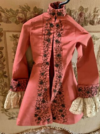 Rare Parisian Marionettes Jacket.  Antique Silk,  Lace & Metal Thread Embroidery