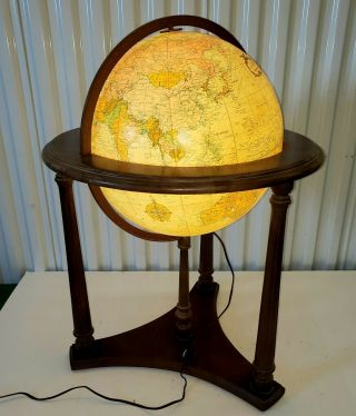 """Rare Vintage Replogle Heirloom 16"""" Two Switch Lighted Library Globe Floor Stand"""