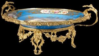 RUSSIAN DUCHESS OLGA SEVRES PORCELAIN CHARGER ORNATE GILT BRONZE MOUNT LATE 19c 2