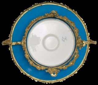 RUSSIAN DUCHESS OLGA SEVRES PORCELAIN CHARGER ORNATE GILT BRONZE MOUNT LATE 19c 3