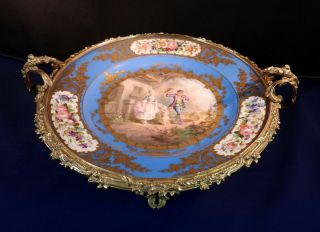 RUSSIAN DUCHESS OLGA SEVRES PORCELAIN CHARGER ORNATE GILT BRONZE MOUNT LATE 19c 6