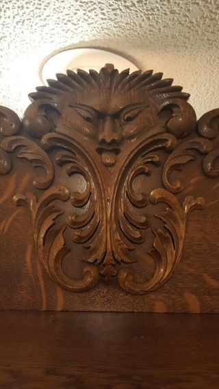 Stunning Antique Tiger Oak Sideboard Buffet With Mirror Carved Face Man 1800