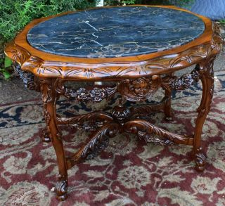 1910s Antique French Carved Walnut & Black Marble Top Coffee Table / Side Table