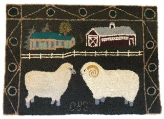 Signed Vintage American Folk Art Pictorial Sheep Hooked Rug Cleland Selby 1990