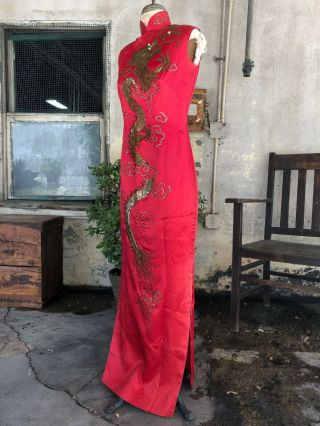 Vintage 1940s Chinese Qipao Cheongsam Red Silk Embroidery Banner Dress Dragon