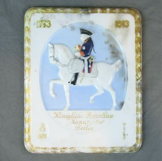 Kpm Porcelain Plaque Soldier On Horse 150 Years Circa 1913 Berlin Vintage