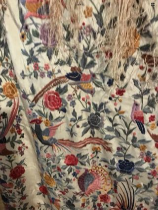 ANTIQUE EUROPEAN SILK HEAVILY EMBROIDERED PIANO SHAWL COLORFUL 10