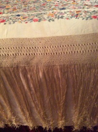 Antique European Silk Heavily Embroidered Piano Shawl Colorful