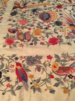 ANTIQUE EUROPEAN SILK HEAVILY EMBROIDERED PIANO SHAWL COLORFUL 2
