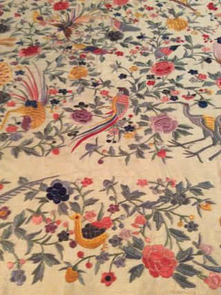 ANTIQUE EUROPEAN SILK HEAVILY EMBROIDERED PIANO SHAWL COLORFUL 3