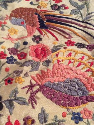 ANTIQUE EUROPEAN SILK HEAVILY EMBROIDERED PIANO SHAWL COLORFUL 4